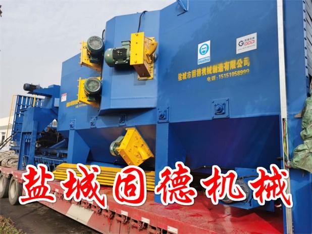 型钢除锈抛丸机8个抛丸器装车现场发往新疆乌鲁木齐市,通过式抛丸机厂家发货